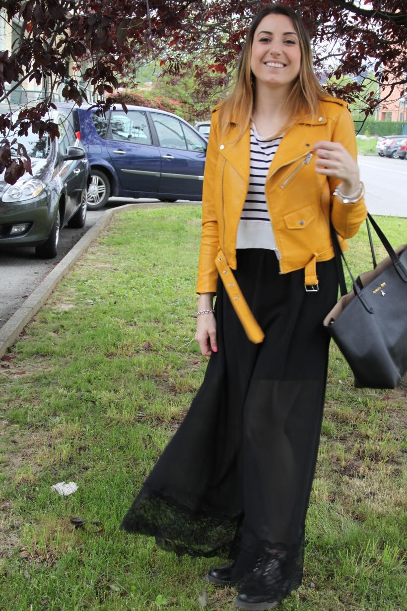 outfit giacca gialla zara e gonna lunga